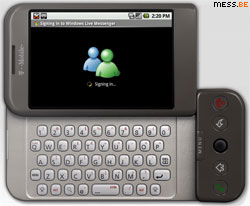 signing in on windows live messenger using the google g1 phone